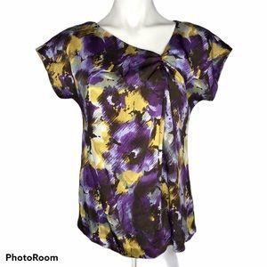 Michael Michael Kors Ruched Floral Print Top